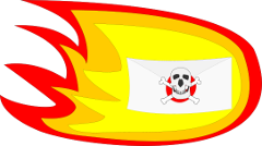 burning letter with skull and cross-bones