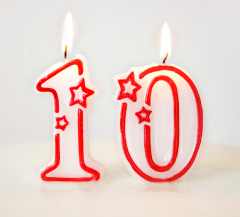 candles with the number 10