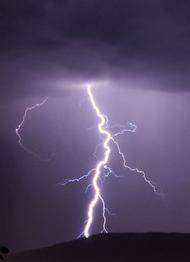 lightning strike in a dark night