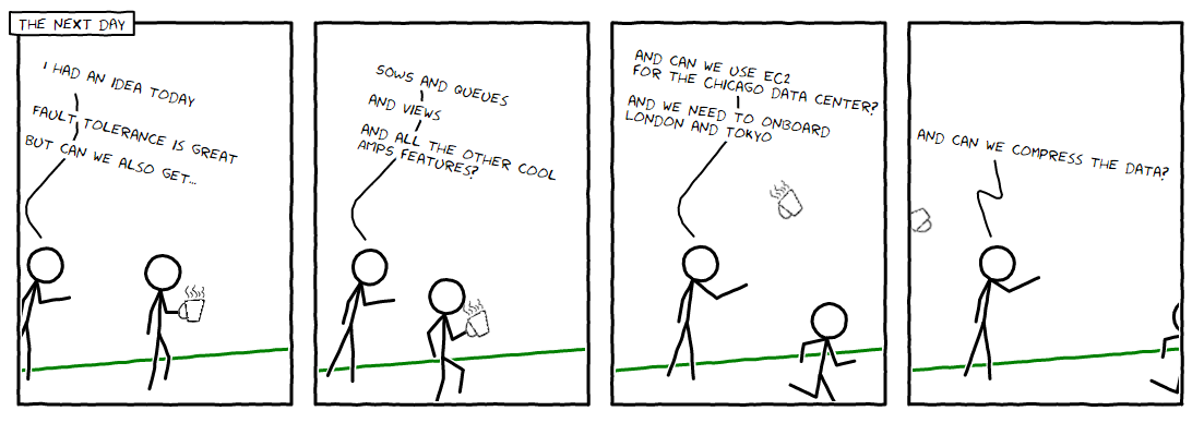 XKCD style comic showing the boss suggesting more and more features while the programmer runs away.